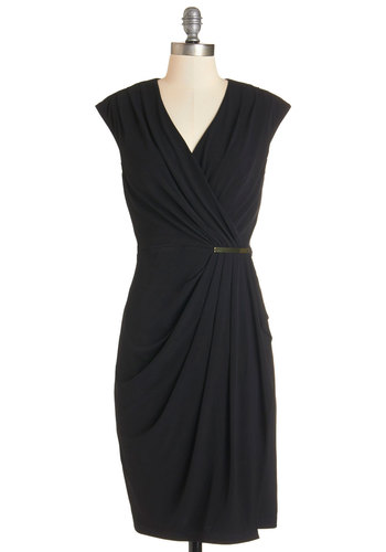 Absolute Powerhouse Dress - Black, LBD, Solid, Party, Cap Sleeves, Knit, Better, V Neck, Ruching, Cocktail, Sheath, Mid-length, Work