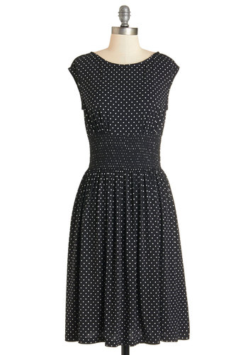 Delight in Dots Dress - White, Polka Dots, Pockets, Casual, A-line, Cap Sleeves, Better, Knit, Black, Scoop, Work, Long