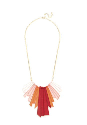 Rays of Bright Necklace - Pink, Solid, Casual, Cocktail, Girls Night Out, Statement, Urban, Gold