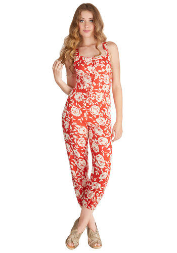 Flit Among the Flowers Jumpsuit - Cropped, Spring, Summer, Better, Capri, Red, Jumpsuit, Long, Red, White, Floral