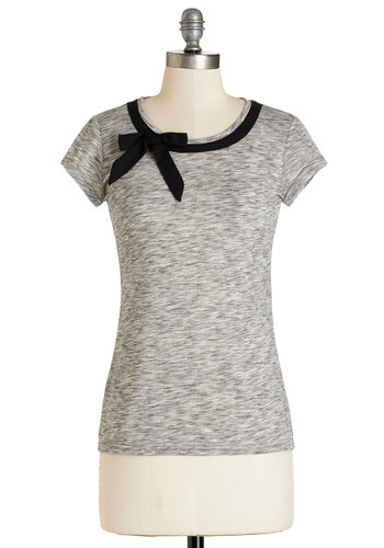 All Ready to Bow Top - Knit, Grey, Solid, Bows, Work, Pinup, Darling, Short Sleeves, Grey, Short Sleeve, Black