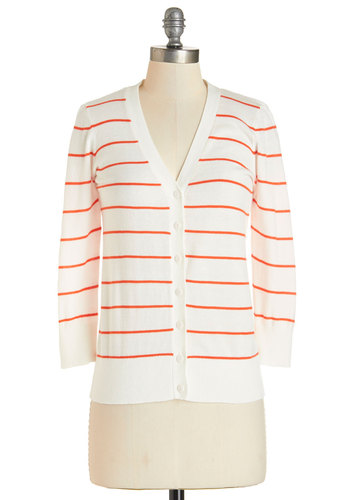 Well-Deserved Weekend Cardigan in White - Mid-length, White, Orange, Stripes, Scholastic/Collegiate, 3/4 Sleeve, White, 3/4 Sleeve, Variation, Buttons, Knit, Nautical