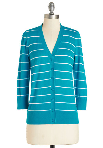 Well-Deserved Weekend Cardigan in Turquoise - Knit, Blue, Stripes, Casual, Scholastic/Collegiate, 3/4 Sleeve, Fall, Variation, Blue, 3/4 Sleeve, White, Buttons, Press Placement