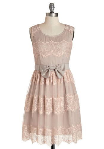 Most Beautiful Words Dress - Pink, Solid, Lace, Special Occasion, A-line, Sleeveless, Better, Scoop, Woven, Bows, Daytime Party, Pastel, Mid-length