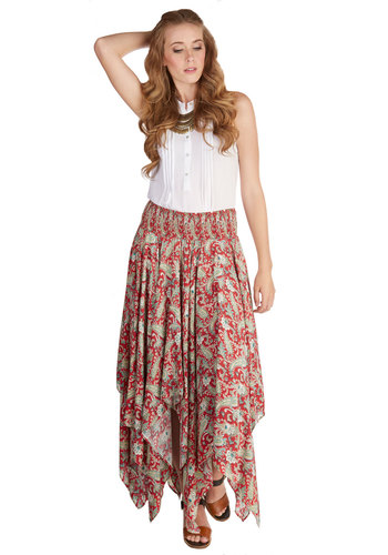 Farm to Fable Skirt - Summer, Fall, Better, Red, Woven, Maxi, Casual, Boho, Multi, Paisley, Handkerchief, Festival, Long