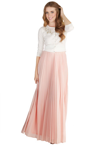 Glimpse of Gossamer Skirt - Maxi, Spring, Summer, Better, Pink, Long, Chiffon, Woven, Pink, Blush, Solid, Pleats, Wedding, Daytime Party, Pastel