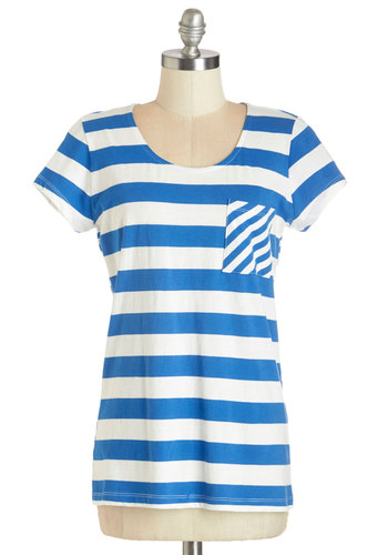 Guitar Pick a Winner Top - Blue, Short Sleeve, Knit, Blue, White, Stripes, Pockets, Casual, Nautical, Short Sleeves, Scoop