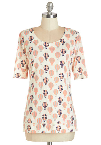 Up in the Flair Top in Cream - White, Short Sleeve, Knit, Blue, Coral, Novelty Print, Short Sleeves, Variation, Quirky, Multi, White, Exposed zipper, Casual, Scoop