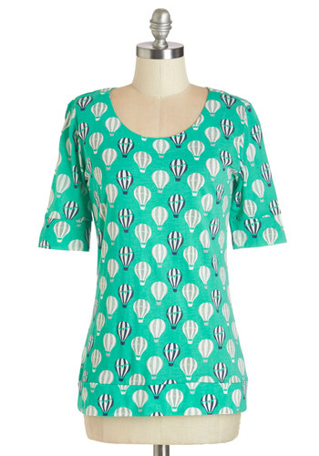 Up In the Flair Top in Jade - Green, Short Sleeve, Knit, Green, Novelty Print, Short Sleeves, Exposed zipper, Casual, Scoop