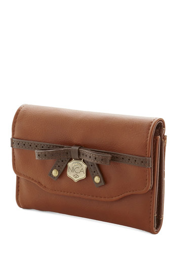 Friday Funds-Day Wallet by Nica - Brown, Gold, Solid, Rustic, Faux Leather, Bows