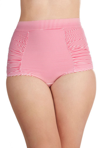 Sangria Castles Swimsuit Bottom - Knit, White, Stripes, Bows, Cutout, Beach/Resort, Nautical, High Waist, Summer, Pink