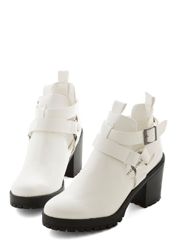 Backstage Bash Bootie - Mid, Faux Leather, White, Solid, Buckles, Urban, Good, Chunky heel