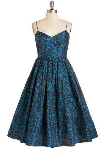 Tracy Reese True Blue Elegance Dress by Tracy Reese - Black, Floral, Special Occasion, Party, Fit & Flare, Woven, Best, V Neck, Blue, Spaghetti Straps, Prom, Wedding, Bridesmaid, Homecoming