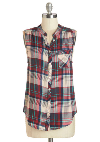 Camp It Up Top - Woven, Red, Tan / Cream, Plaid, Casual, Sleeveless, Summer, Red, Sleeveless, Buttons, Pockets, Rustic, Mid-length