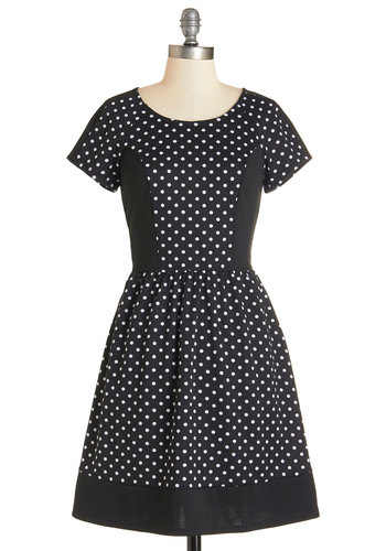 Postcard Haste Dress - Cotton, Knit, Black, White, Polka Dots, Casual, A-line, Short Sleeves, Better, Scoop, Pockets, Exclusives, Full-Size Run, Mid-length