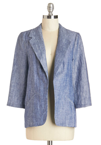 Designer by Day Blazer - Summer, Better, Blue, Mid-length, Woven, Blue, Solid, Pockets, Work, Daytime Party, Menswear Inspired, Americana, 3/4 Sleeve, Spring, 3/4 Sleeve, 1