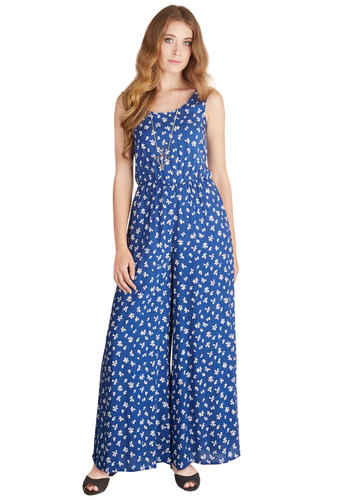 Frond a Roll Jumpsuit - Spring, Summer, Better, Full length, Blue, Jumpsuit, Long, Woven, Blue, White, Floral, Boho, Vintage Inspired, 70s, Wide Leg, Sleeveless, Scoop, Festival