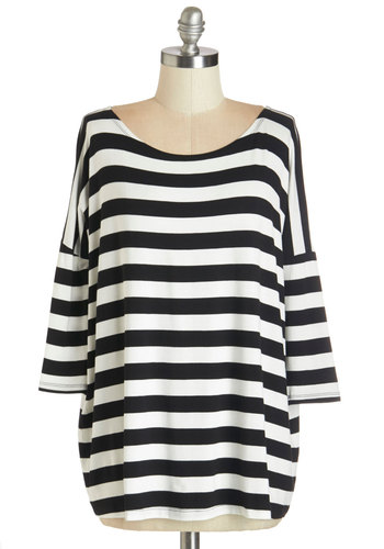 Stanza Chance Top - Mid-length, Jersey, Knit, White, Stripes, Casual, 3/4 Sleeve, Fall, Black/White, 3/4 Sleeve, Multi, Black, Scoop