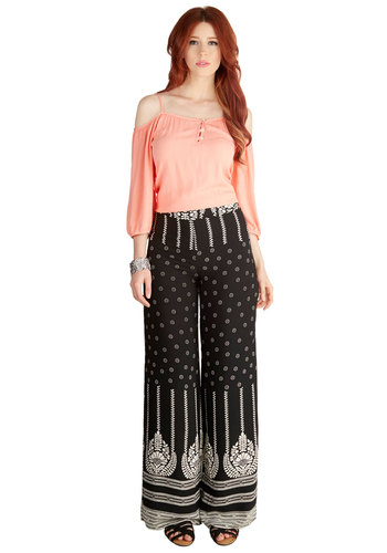Flowing in the Wind Pants - Wide Leg, Summer, Good, Mid-Rise, Full length, Black, Non-Denim, Woven, Black, White, Print, Boho, Vintage Inspired, 70s, Festival