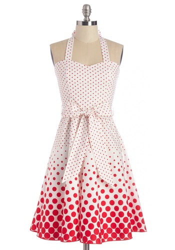 Ice Cream Sunday Dress - Red, Polka Dots, Pinup, Vintage Inspired, 50s, Fit & Flare, Halter, Better, Sweetheart, Long, Cotton, Woven, Belted, Sundress, Casual, White