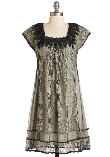 Neverending Glory Dress - Tan / Cream, Black, Crochet, Lace, Trim, Casual, Boho, Tent / Trapeze, Cap Sleeves, Woven, Better, Lace, Vintage Inspired, 20s, Party