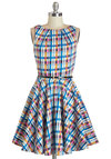 Luck Be a Lady Dress Blue Plaid