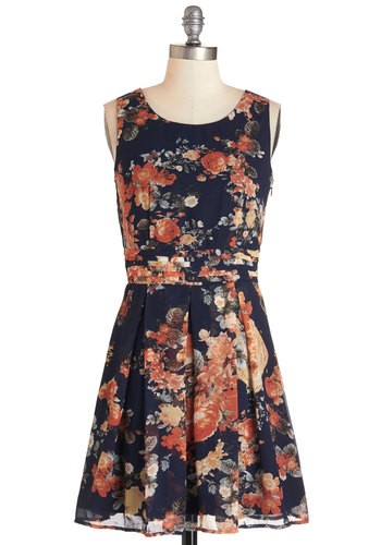 Commute Route Dress - Multi, Floral, Pleats, Daytime Party, A-line, Sleeveless, Summer, Woven, Better, Scoop, Chiffon, Fall, Mid-length