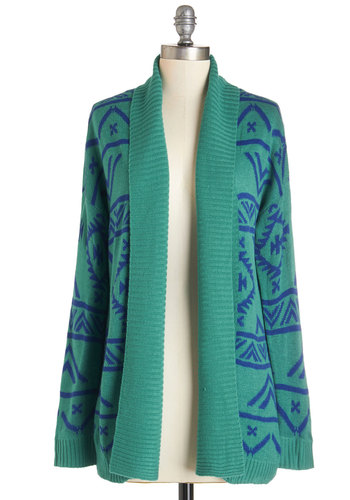 Cool and Cozy Cardigan - Knit, Green, Print, Casual, Long Sleeve, Fall, Green, Long Sleeve, Blue