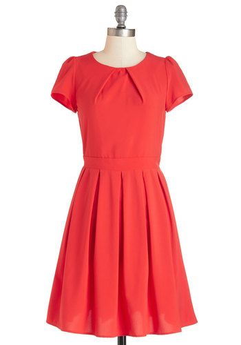 Namesake Cocktail Dress in Red - Red, Solid, Cutout, Pleats, Casual, Americana, A-line, Short Sleeves, Woven, Better, Scoop, Daytime Party, Mid-length