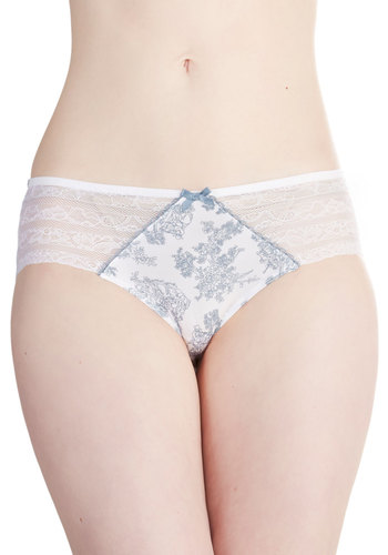 And Toile a Good Night Undies - Blue, Novelty Print, Fairytale, Pastel, French / Victorian, Good, Satin, Knit, Lace, White, Bows, Lace