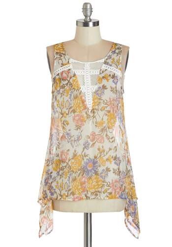 Chapbook Shop Top - Sheer, Woven, Multi, Yellow, Tan / Cream, Floral, Casual, Daytime Party, Sleeveless, Summer, Multi, Sleeveless, Crochet, Scoop