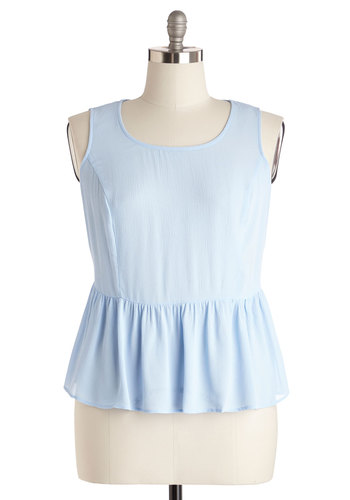 Office to the Races Top in Plus Size - Woven, Blue, Solid, Work, Pastel, Peplum, Sleeveless, Scoop