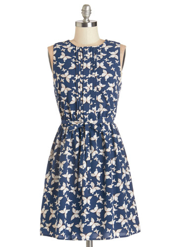 Traveling Farfalle Dress - Multi, Print with Animals, Pleats, Casual, Sundress, A-line, Sleeveless, Woven, Good, Scoop, Blue, Belted