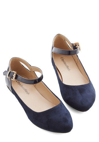 Ready to Impress Flat in Navy - Flat, Faux Leather, Blue, Solid, Work, Casual, Scholastic/Collegiate, Variation
