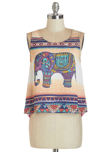 Pachyderm the Trunk Top - Sheer, Woven, Multi, Green, Purple, Tan / Cream, Print with Animals, Casual, Safari, Cropped, Sleeveless, Summer, Multi, Sleeveless, Boho, Scoop