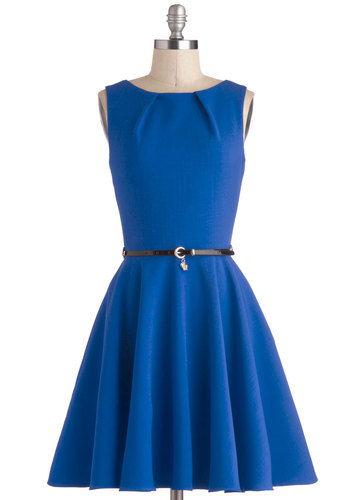 Luck be a Lady in Cobalt by Closet London - Blue, Solid, Belted, Work, Casual, Sleeveless, Knit, Better, Variation, Boat, Exposed zipper, Pockets, Mid-length, Top Rated, Fit & Flare