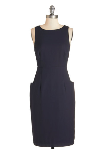 Single Screen Saturday Dress - Blue, Solid, Pockets, Party, Work, Shift, Sleeveless, Woven, Good, Scoop