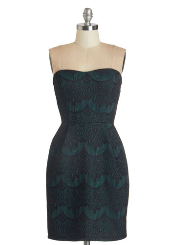 Together For Evergreen Dress in Pine - Green, Black, Lace, Party, Strapless, Knit, Good, Sweetheart, Lace, Print, Pockets, Cocktail, Mid-length, Sheath, Girls Night Out