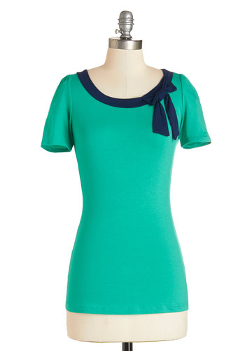 Town Square Fair Top in Jade - Green, Short Sleeve, Jersey, Knit, Green, Solid, Bows, Work, Rockabilly, Pinup, Vintage Inspired, 50s, Short Sleeves, Variation, Blue