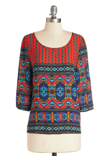 Daring Dynamic Top - Woven, Multi, Red, Orange, Blue, Print, Boho, 3/4 Sleeve, Multi, 3/4 Sleeve, Scoop, Festival, Fall, Casual