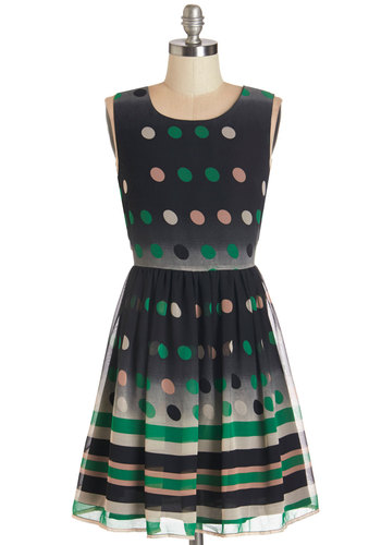 Garden Club Gala Dress - Multi, Polka Dots, Stripes, Party, A-line, Sleeveless, Woven, Better, Scoop, Mid-length, Daytime Party