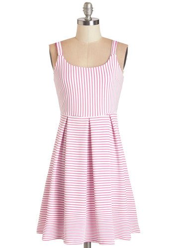 Potpourri Purveyor Dress - Pink, White, Stripes, Pleats, Casual, Sundress, Nautical, Vintage Inspired, 60s, A-line, Sleeveless, Summer, Better, Scoop, Mid-length, Knit, Backless