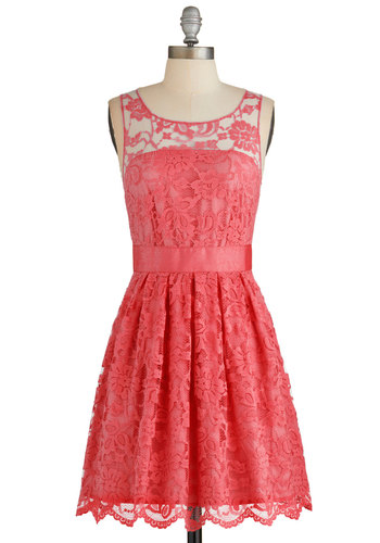 When the Night Comes Dress in Coral by BB Dakota - Solid, Lace, Special Occasion, Wedding, Graduation, Bridesmaid, Homecoming, A-line, Sleeveless, Better, Coral, Variation, Mid-length, Sheer, Woven, Lace, Exclusives, Daytime Party, Valentine's, Top Rated, Full-Size Run