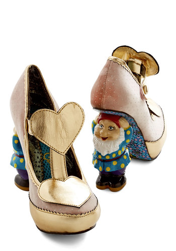 When in Gnome Heel by Irregular Choice - Pink, Multi, Polka Dots, Trim, High, Platform, International Designer, Faux Leather, Woven, Best, Gold, Fairytale, Quirky, T-Strap, Top Rated, Valentine's