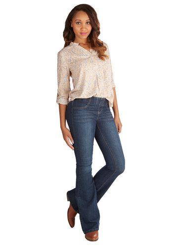 You've Got Flare Jeans - Flare / Bell Bottom, Good, Mid-Rise, Full length, Blue, Dark Wash, Denim, Denim, Woven, Blue, Solid, Casual, Basic