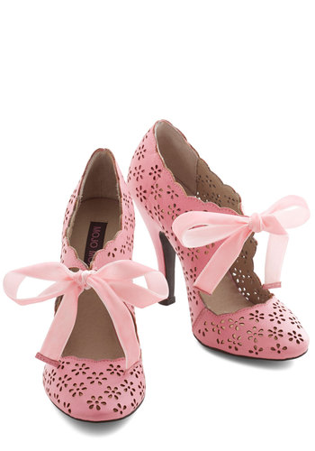 Cutie Alert Heel in Pink - High, Leather, Pink, Solid, Cutout, Prom, Wedding, Party, Vintage Inspired, 20s, Fairytale, Darling, Better, Variation