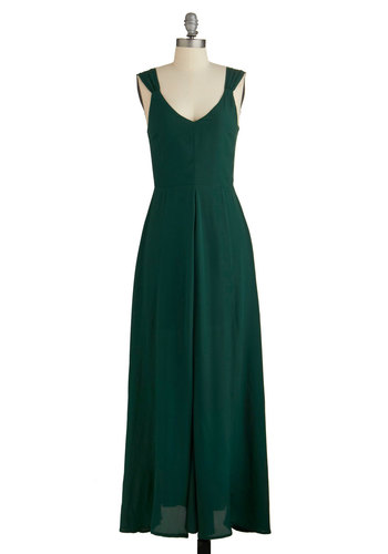 Forest Comes First Dress - Green, Solid, Backless, Special Occasion, Wedding, Bridesmaid, Homecoming, Maxi, Sleeveless, Woven, Better, V Neck, Long, Pockets