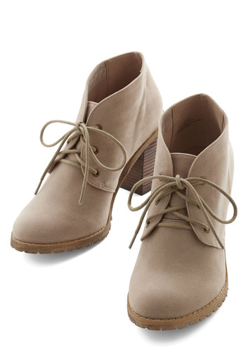 Thrift Off Bootie by Restricted - Mid, Tan, Solid, Better, Lace Up, Chunky heel, Casual
