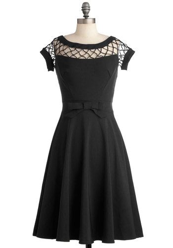 With Only a Wink Dress in Black - Black, LBD, Variation, Solid, Bows, Cutout, Prom, Wedding, Party, Cocktail, Bridesmaid, Pinup, Vintage Inspired, 40s, 50s, Fit & Flare, Boat, Knit, Full-Size Run, Long