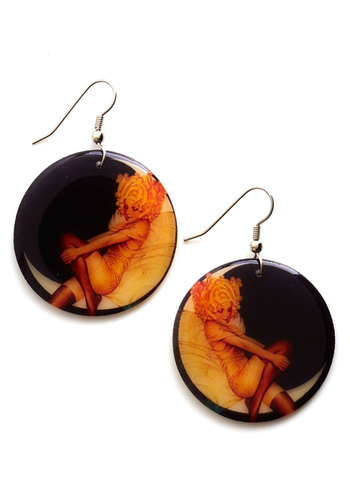 Striking a Pose Earrings - Black, Multi, Pinup, Black, Novelty Print, Statement